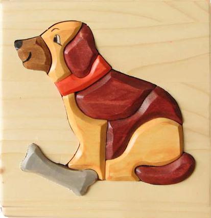 Puzzle 3D Caine din lemn