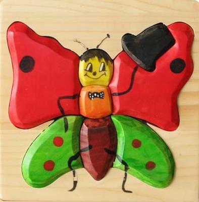 Puzzle 3D Fluture din lemn