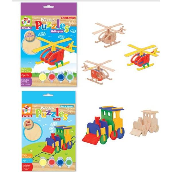 Set creativ puzzle 3D,lemn,div modele