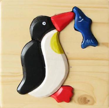 Puzzle 3D Pinguin din lemn