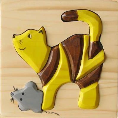 Puzzle 3D Pisica cu soarece din lemn