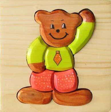 Puzzle 3D Urs din lemn