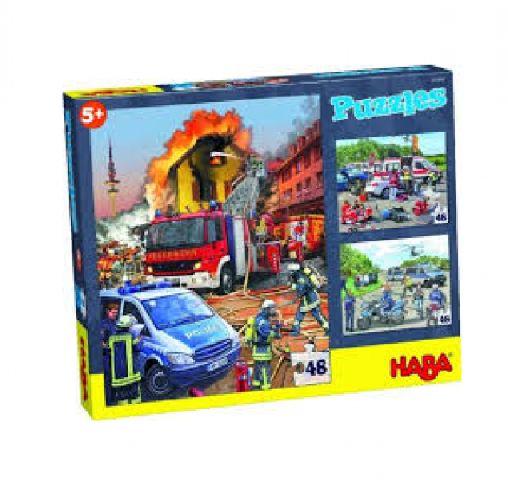Puzzle 3in1,vehicule interventie,48pcs,Haba
