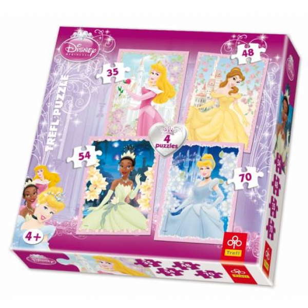 Puzzle 4 in 1 Princess, 35-45-54-70 pcs.