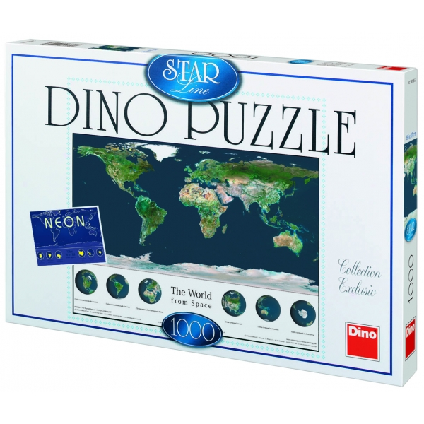 Puzzle fosforesecent - Lumea vazuta din spatiu, 1000 piese