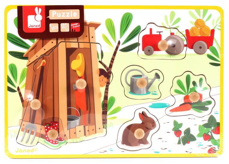Puzzle lemn,Coliba din gradina,7pcs,Janod