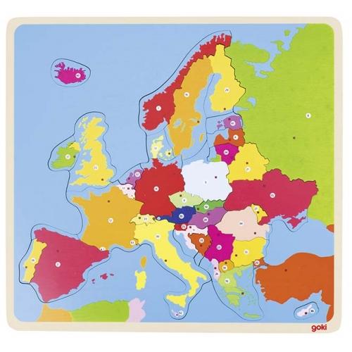 Puzzle lemn,Europa,35pcs,Goki
