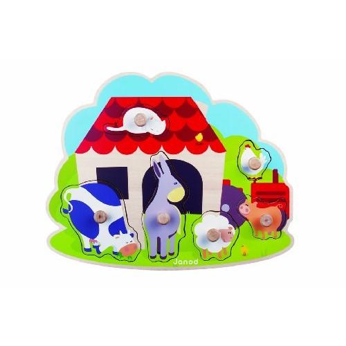 Puzzle lemn,Ferma cu animale,6pcs,Janod