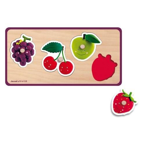 Puzzle lemn,Fructe,4pcs,Janod