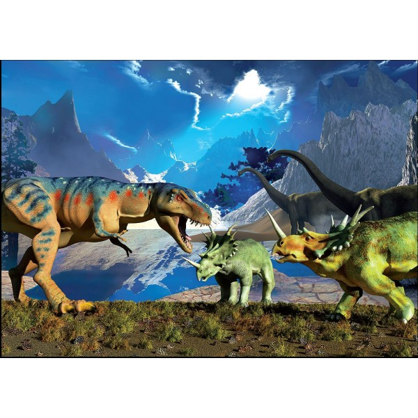 Puzzle Lupta de dinozauri, 99 piese