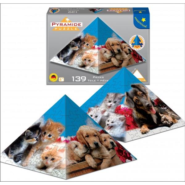 Puzzle Piramida Caini si pisici,139 piese