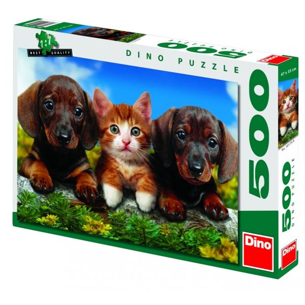 Puzzle Pisica si catelusii, 500 piese