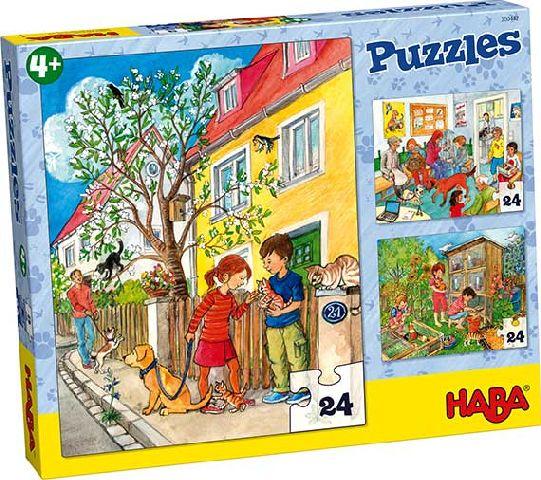 Puzzle,3in1,amimale companie,24 pcs,Haba