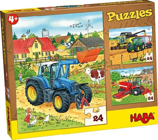 Puzzle,3in1,Tractoare,24 pcs,Haba