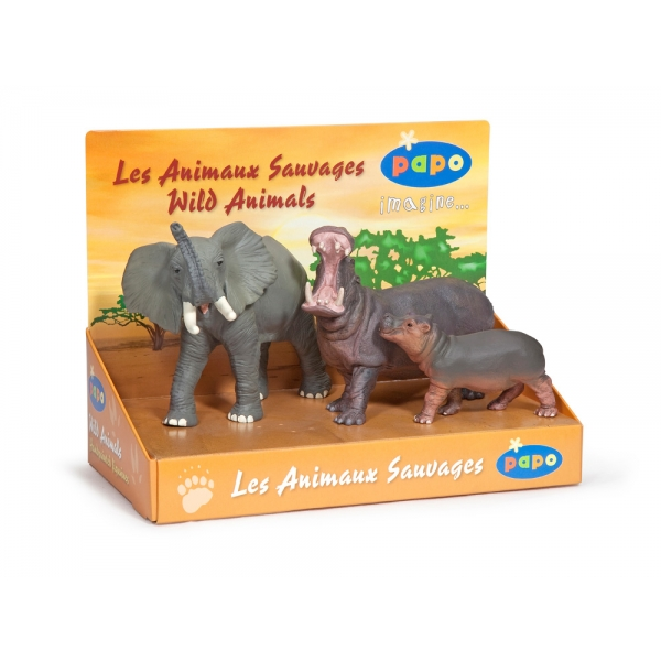 Set 3 animale salbatice - elefant si hipopotami