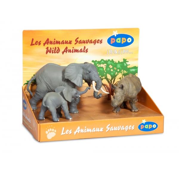 zzSet 3 animale salbatice - elefanti si rinocer