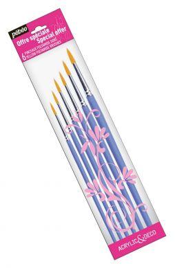 Set 6 pensule rotunde Pebeo (000,0,2,4,6