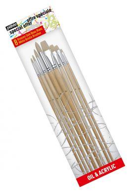 Set 8 pensule Pebeo,fibre sintetice galb