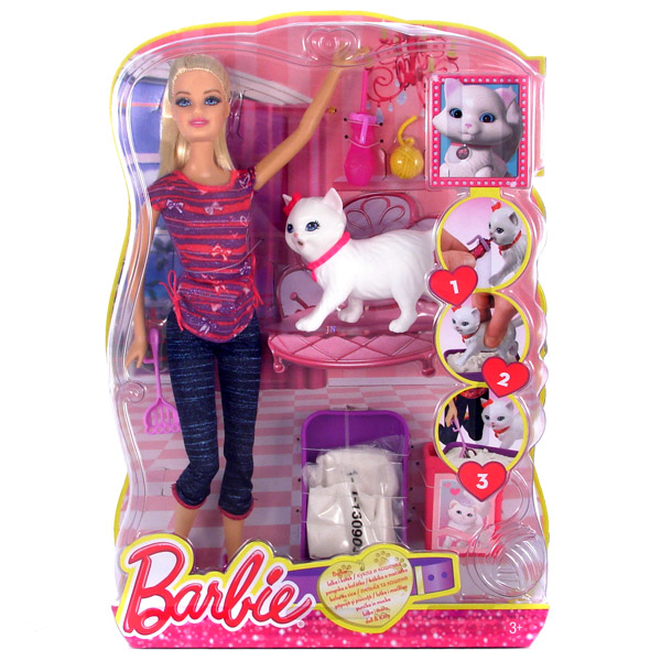 Set Barbie invata pisica la litiera