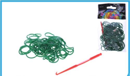 Set creare bratari,250elastice verde inchis+carlig