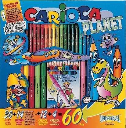 Set creativ Carioca Planet, 30 markere Joy, 14 markere Jumbo, 12 creioane colorate
