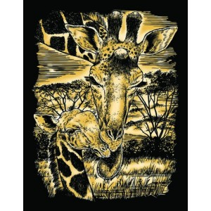 Set creativ gravura Girafa cu pui - auriu