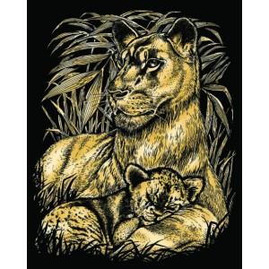 Set creativ gravura Leoaica cu pui - auriu