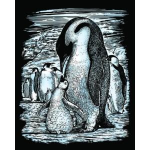 Set creativ gravura Pinguini - argintiu