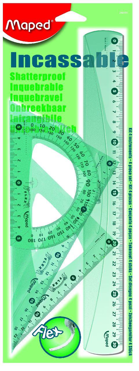 Set geometrie,4elemente(rigla30cm),Flex