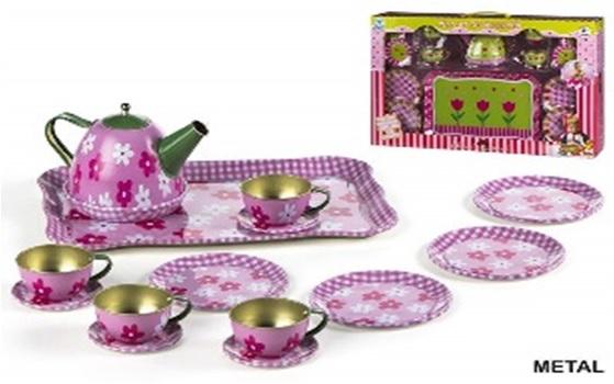 Set servire ceai,design flori,metal