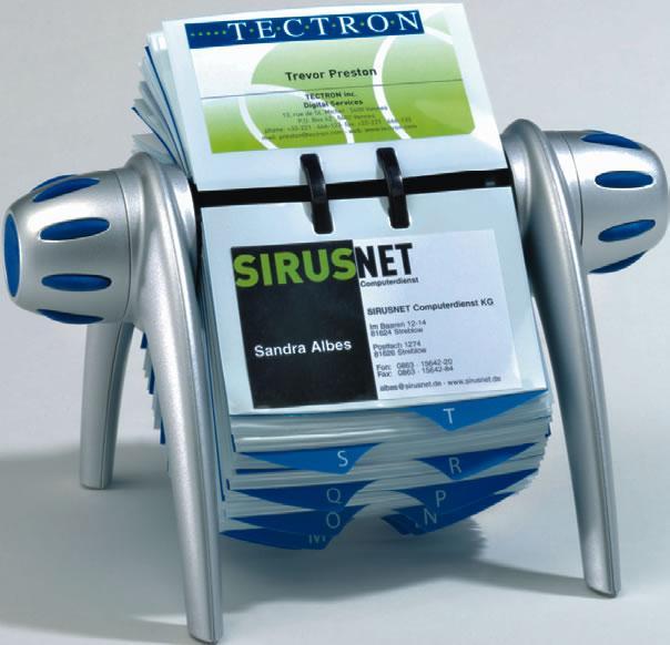 Suport pentru carti de vizita Durable Visifix Flip, argintiu, rotativ, 200 buzunare, plastic