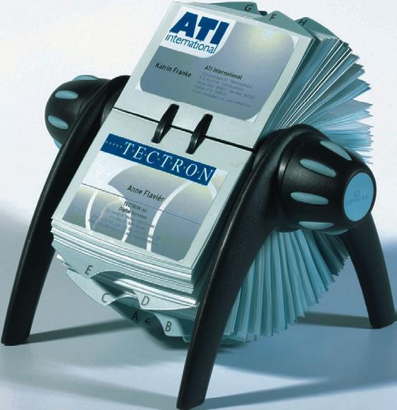 Suport pentru carti de vizita Durable Visifix Flip, negru, rotativ, 200 buzunare, plastic