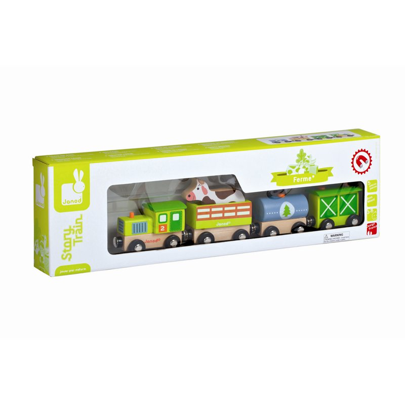 Trenulet cu animale,lemn,Janod