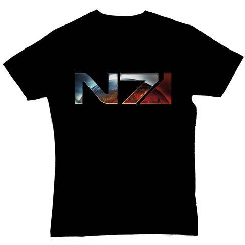 ME 3 T-Shirt - Chrome N7 Logo, black,L