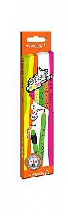 Creion grafit Y-Plus,HB,radiera,neon,6buc/set