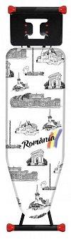 Masa de calcat Heinner Romania, blat 42 x125 cm, plasa metalica, reglabila inaltime, husa bumbac, pr