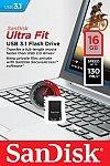 Stick Mem. USB3.1 SanDisk Ultra Fit, 16GB, 130MB/s citire