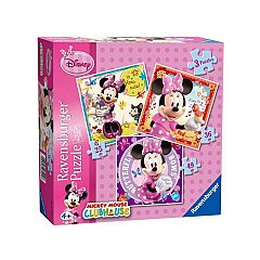 Puzzle Ravensburger - Minnie Mouse, 3 buc in cutie, 25/36/49 piese