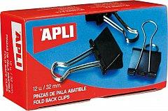 Clipsuri metalice Apli, 19 mm, negre, 12 bucati/cutie