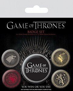 Set 5 insigne Game Of Thrones (The Four Great Houses)