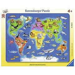 Puzzle Ravensburger - Harta lumii, cu animale, 30 piese