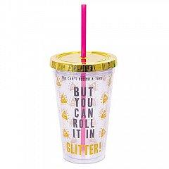 Cana Travel cu pai, Sclipici - Glitter Poo Straw Cup