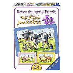 Puzzle Ravensburger - Animale prieteni, 3x6 piese