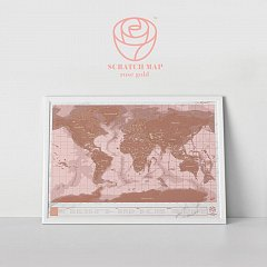 Harta razuibila Scratch map, Rose Gold Including