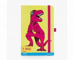 Agenda A5,95file,dots,T-Rex,galben