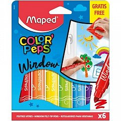 Markere pt copii,pt geam,6b/set,Maped