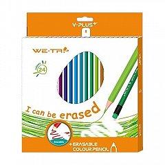 Creioane colorate,24b/set,cu radiera,Y-plus