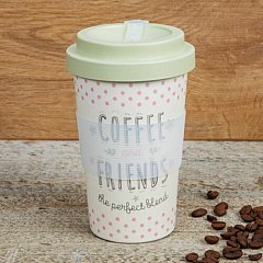 Love Life Bamboo Travel Mug 400ml - Coffee & Friends
