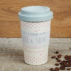 Love Life Bamboo Travel Mug 400ml - I Can Rise & Shine