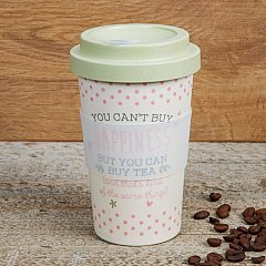 Love Life Bamboo Travel Mug 400ml - You Can't Buy Happiness